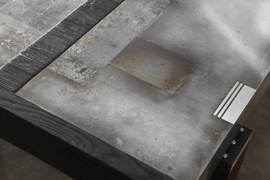 Zinc and Charred Oak Dining Table