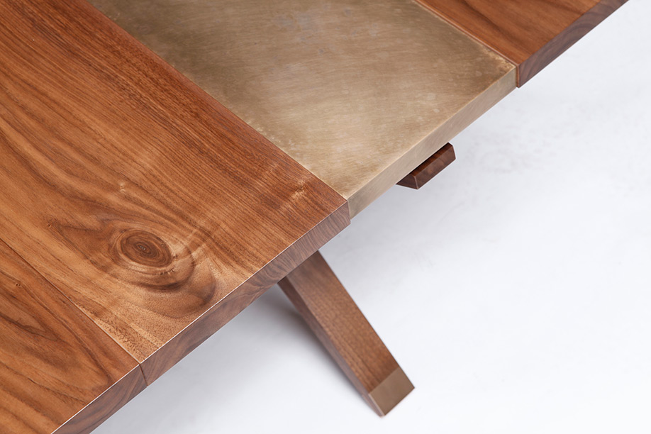 Etched Bronze and Walnut Coffee Table