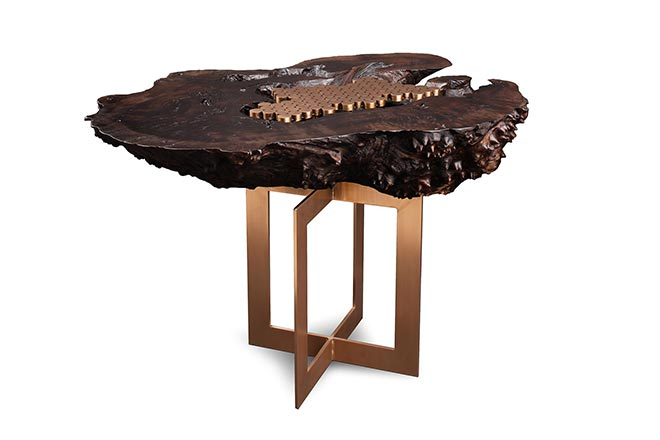 Walnut Burl and Bronze Side Table