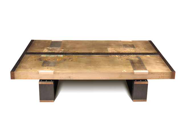 Handmade bronze etched coffee table