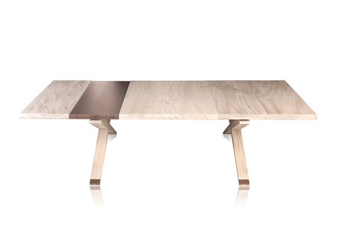 Brushed bronze and wood table