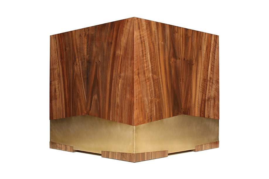 Square shaped walnut table